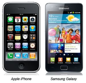 Iphone e Samsung Galaxy SII são aprecidos