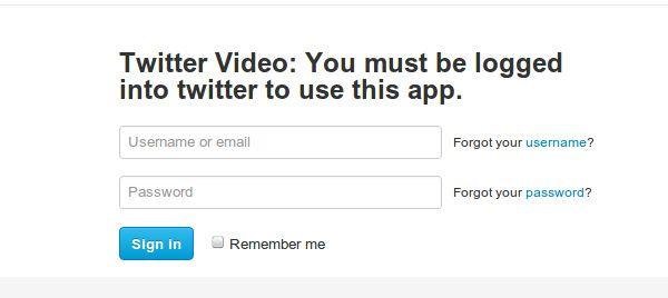 Vídeo do Twitter deve aceder ao Twitter para utilizar esta app