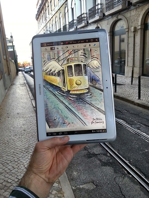 Flying-Tram-in-Lisbon-(Ben-Heine)