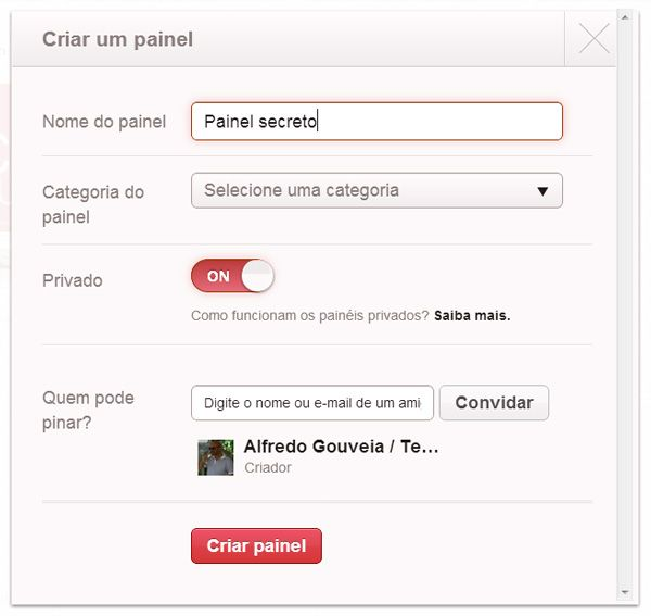 Pinterest: Criar painel secreto