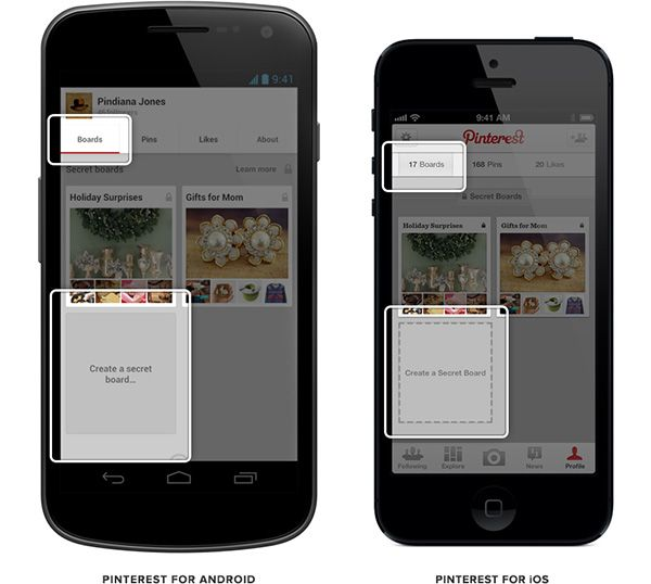 Pinterest for Android and iOS