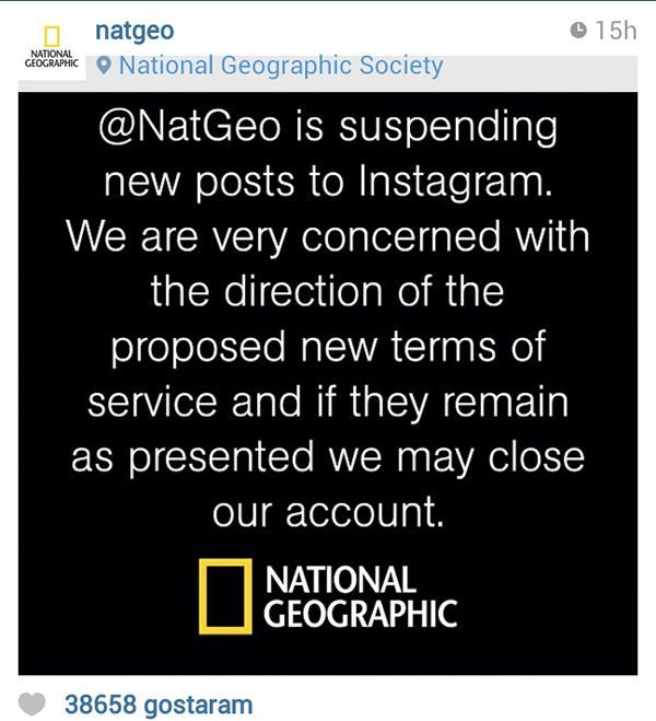 Imagem da reação da revistaNational Geographic no Instagram