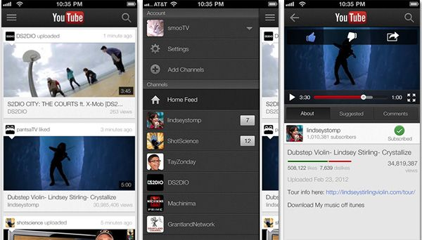 YouTube com interface otimizada para iPhone 5