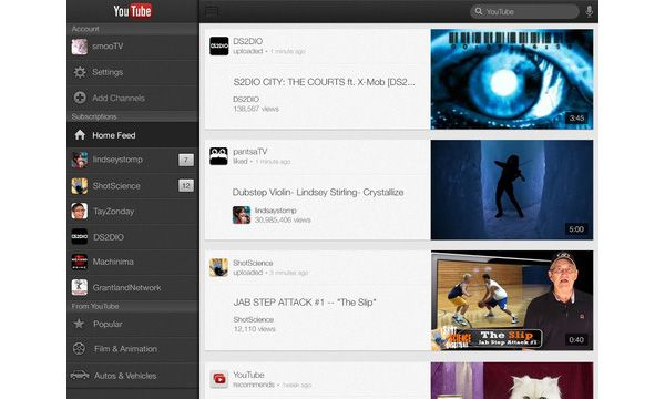 YouTube com interface otimizada para o iPad