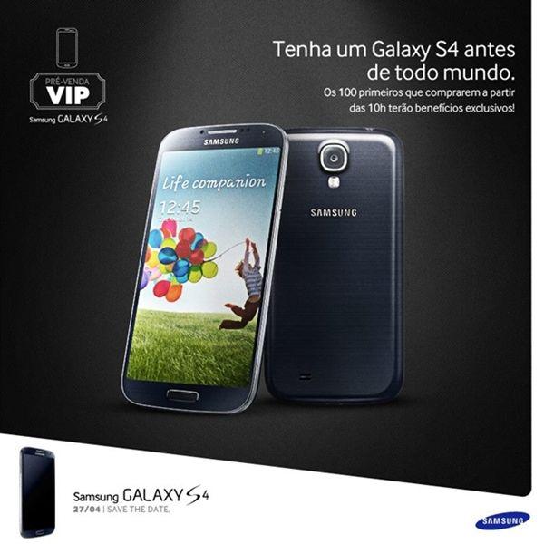 Samsung disponibilizará cem smartphones Galaxy S4 durante a pré-venda que acontecerá em São Paulo no próximo sábado (24)