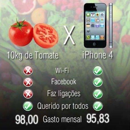 Comparativo: iPhone vs Tomate