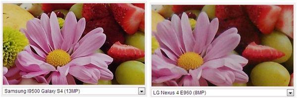 A esquerda fotografia tirada com um Galaxy S4 e a direita a mesma fotografia tirada com um Nexus 4 (Foto: Reprodução/GSM Arena)
