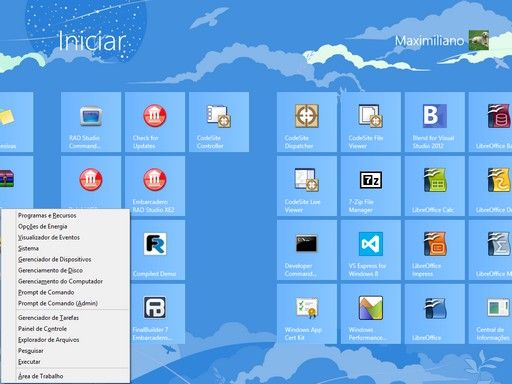 Windows 8 - Windows 8 - menu oculto