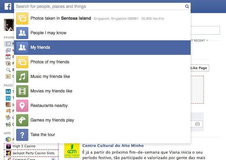 busca social facebook