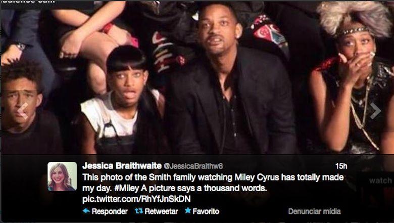 tweet com a reação da família do ator Will Smith à atuação de Miley Cyrus