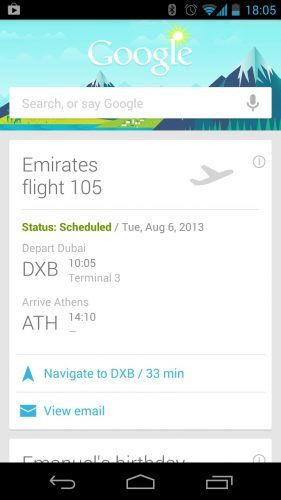 Google Now: Emirates Airline