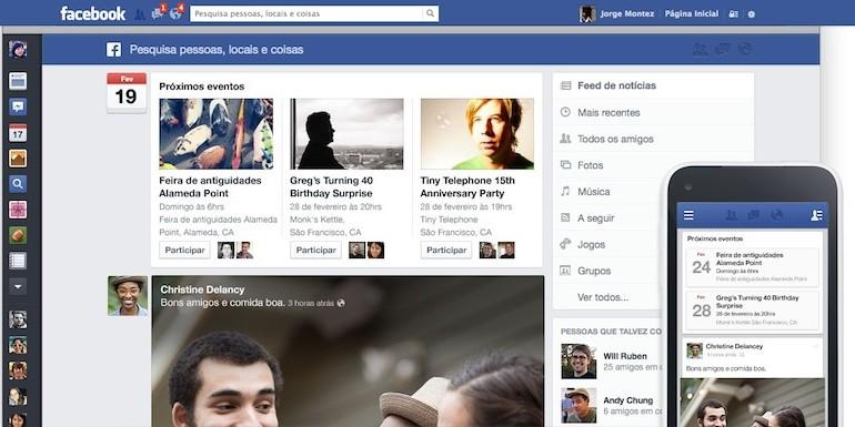 novo visual facebook