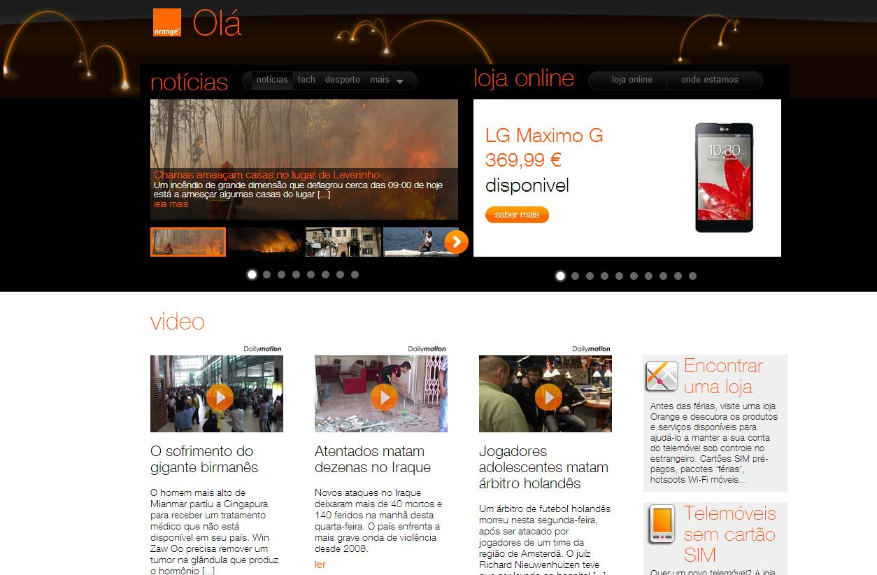Website Orange Portugal: www.orange.com