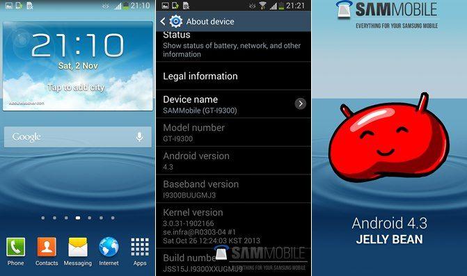 s3 Android 4.3, atualização, Galaxy S III, Samsung
