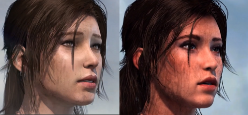 Na esquerda Lara no PS3 e a direita, Lara no PS4.