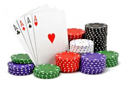 Aces With Stack Of Poker Chips Stock Photo