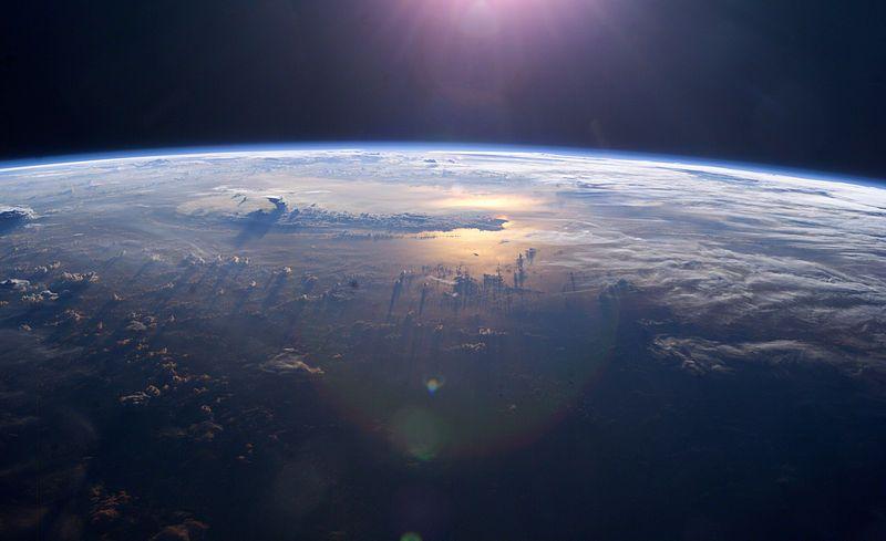Oceano Pacífico visto da Estação Espacial Internacional (ISS).  Crédito:  NASA