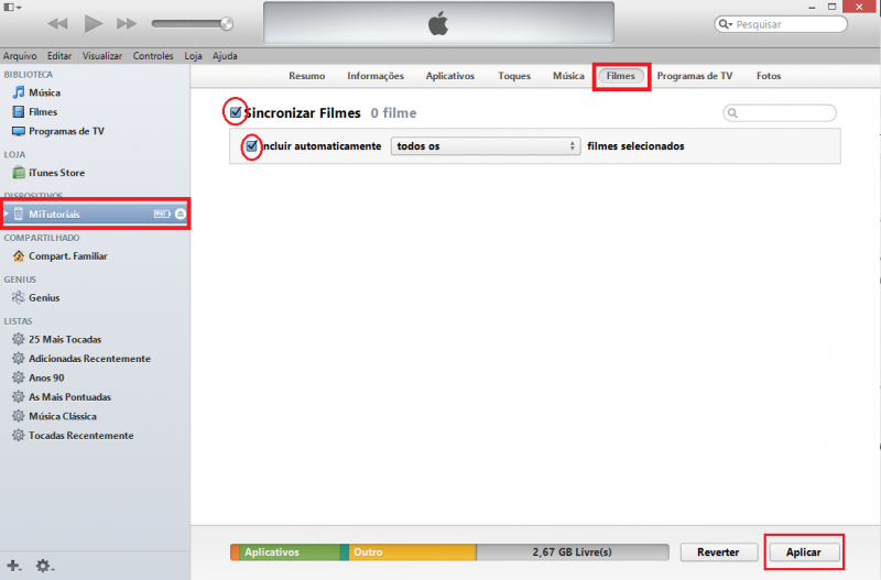 Como colocar vídeos no iPhone iPad iPod Touch com iTunes (1)