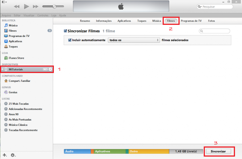 Como colocar vídeos no iPhone iPad iPod Touch com iTunes (6)