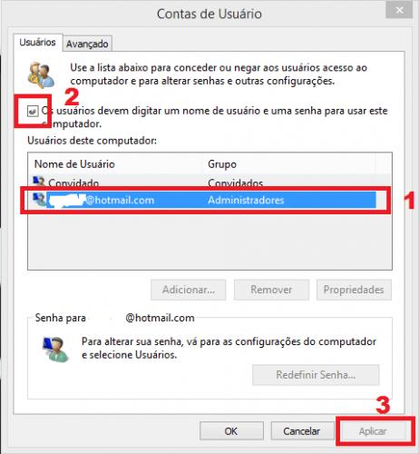 Como iniciar Windows 8.1 sem digitar senha passo 3