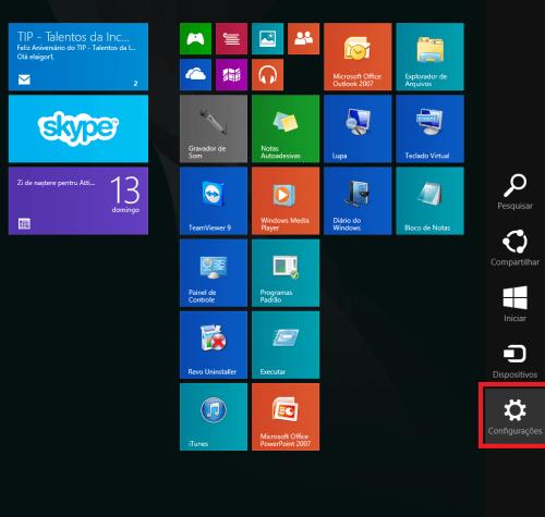 Como mudar a cor do Windows 8.1 passo1