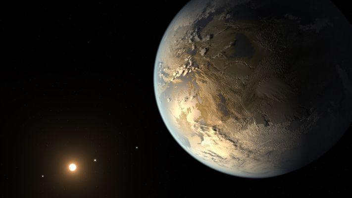 Concepção artística do Kepler-186f, o primeiro exoplaneta do tamanho da Terra descoberto na zona habitável da órbita de uma estrela. Crédito: NASA Ames/SETI Institute/JPL-Caltech