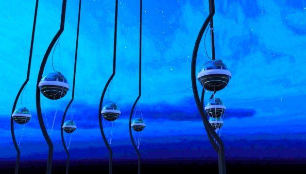 Impressão artística de alguns dos mais de 5 mil módulos digitais ópticos instalados no gelo da Antártida pelo experimento IceCube. Crédito: Jamie Yang. IceCube Collaboration