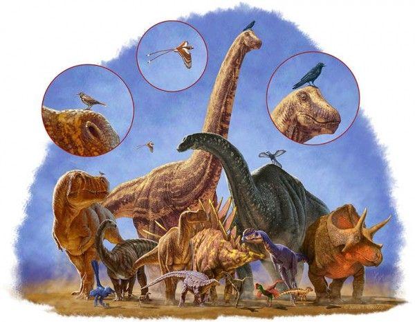 Quanto maior a altura...: Estudo conclui que a redução do porte físico fez com que os menores dinossauros — as aves — sobrevivessem ao evento que pôs fim ao reinado dos répteis gigantes. Crédito: Julius Csotonyi
