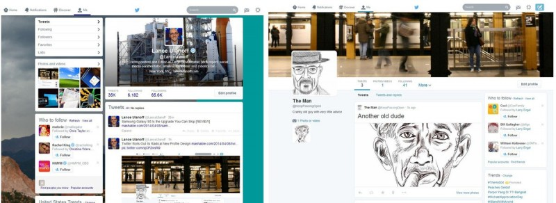 Compare: novo perfil versus velho perfil