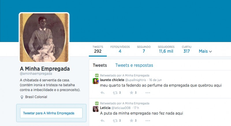 O avatar do @aminhaempregada faz referência à escravidão
