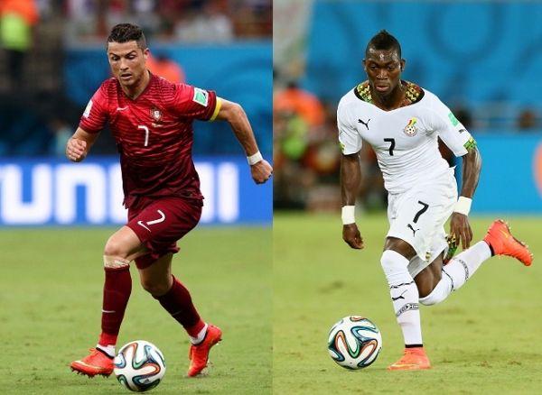 """Os """"sete"""": Cristiano Ronaldo, à esquerda, até tentou levar Portugal a uma grande vitória nesta quinta-feira, mas Christian Atsu, à direita, e a seleção de Gana aplacaram as lusitanas chances de avançar para a próxima rodada. (Foto: Getty)"""