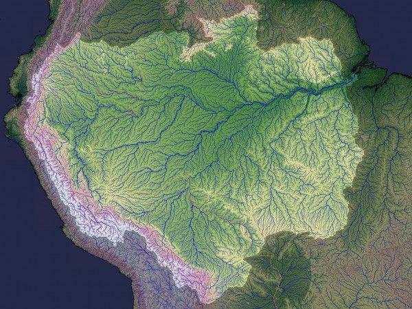 180º: O Amazonas nem sempre correu para o leste. De fato, registros geológicos sugerem que a água do norte da América do Sul desembocava em grandes lagos e, posteriormente, no Mar do Caribe. Imagem: Jasse Allen; NASA; University of Maryland; WWF