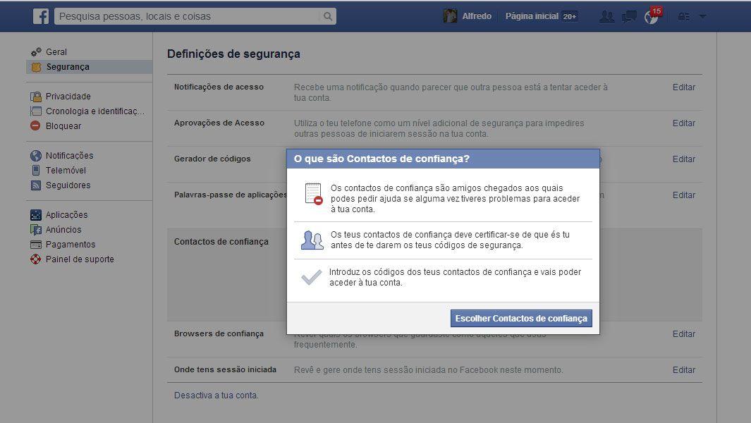 facebook contactos e confiança