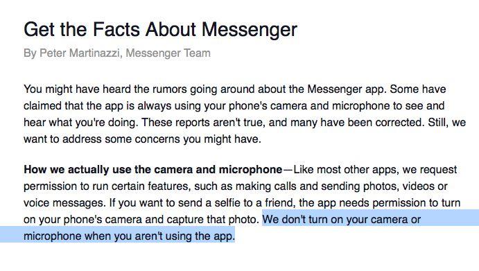 """""""Nós não ligamos a câmera ou o microfone quando você não está utilizando a app"""", é possível ler na publicação de Peter Martinazzi, responsável pela equipa que trata do Facebook Messenger."""