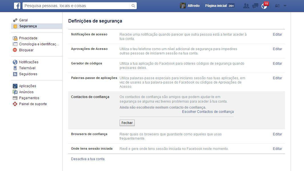 facebook definições de segurança