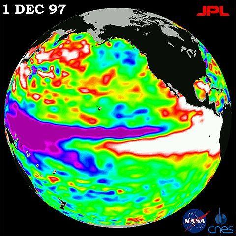 Condições de temperatura no Pacífico observadas em dezembro de 1997. A região branca situada na costa oeste das Américas indica temperaturas mais altas. Crédito: TOPEX/Poseidon