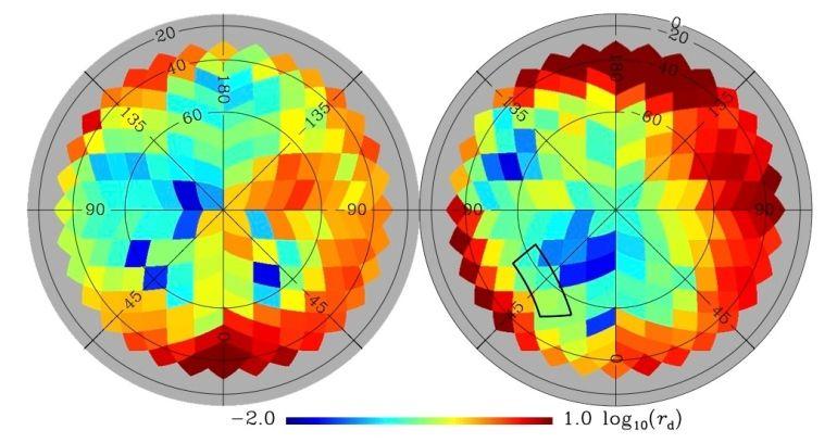 O novo mapa da poeira galáctica (acima) revelado pelo Planck abrange todo o  céu, identificando regiões de alta (em vermelho) e baixa (em azul) concentração de poeira. Como é possível visualizar, a região investigada pelo experimento BICEP2 (área retangular) não se encontra entre as de menor concentração de poeira. À esquerda, vê-se o hemisfério galáctico norte; à direita, o sul. Crédito: Adam, R. et al. (2014)