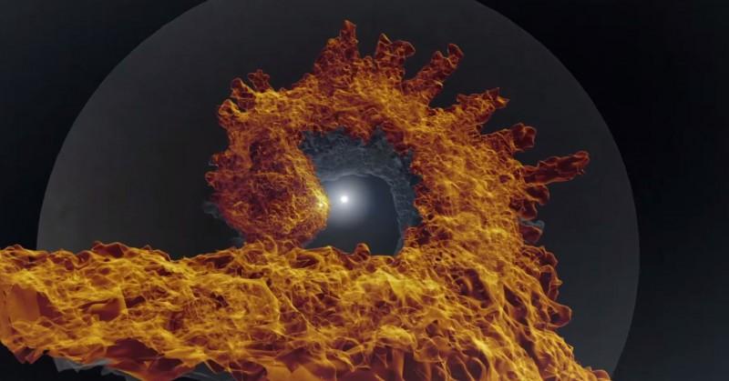 """Nesta imagem, extraída do vídeo publicado pela NASA, podem ser vistas as protrusões encontradas na cavidade que se forma na zona de contato direto entre os ventos estelares. Como um barco navegando por um canal, a estrela companheira deixa sua marca no vento estelar da primária. Suspeita-se que os """"dedos"""" são gerados por instabilidades no gás que flui pela cavidade. Crédito: NASA Goddard"""