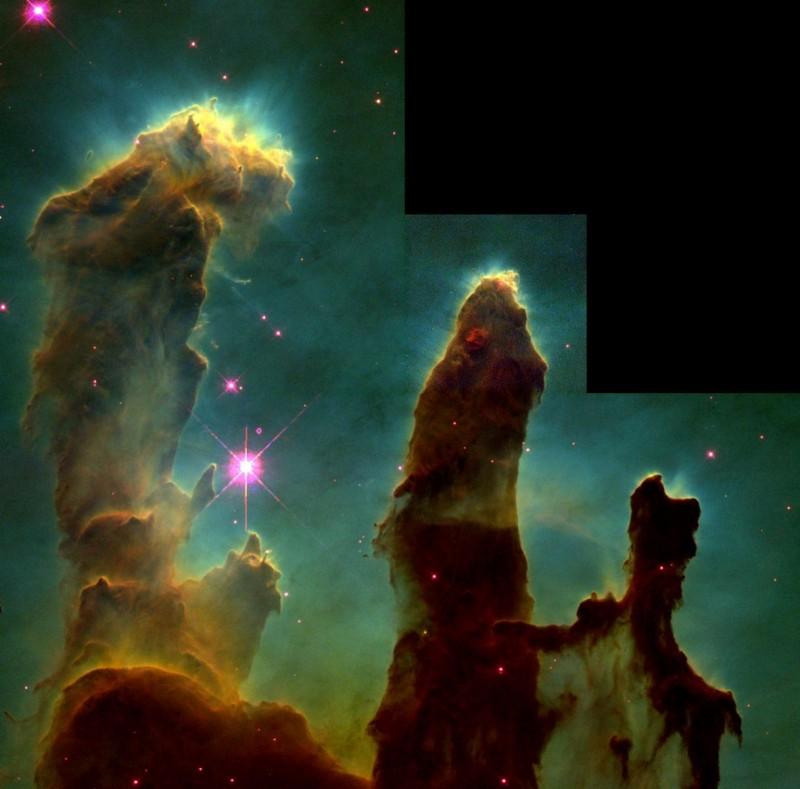 Imagem dos Pilares da Criação obtida em 1995. Crédito: Jeff Hester/Paul Scowen/NASA/ESA