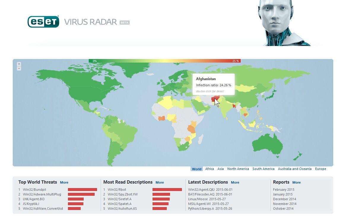 ESET Mapa Mundo Afeganistão computadores com vírus