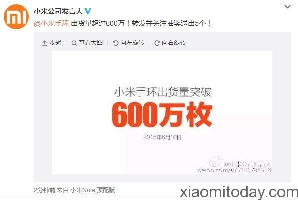 Xiaomi Mi Band 6 milhões