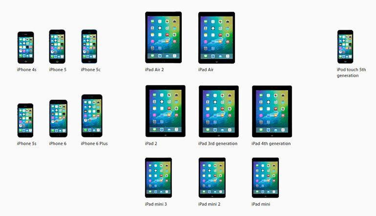 Dispositivos compatíveis com o iOS 9