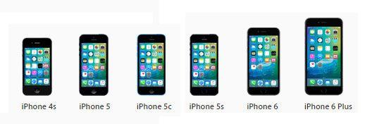 modelos de iPhone compatíveis com iOS 9