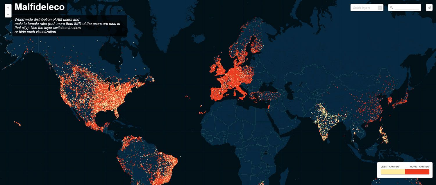 Tecnilógica mapa ashley madison utilizadores