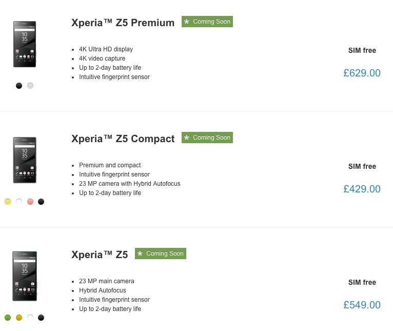 Xperia Z5 loja online Sony