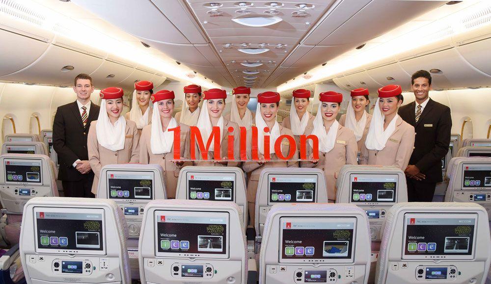 Emirates 1 milhão de seguidores no Instagram
