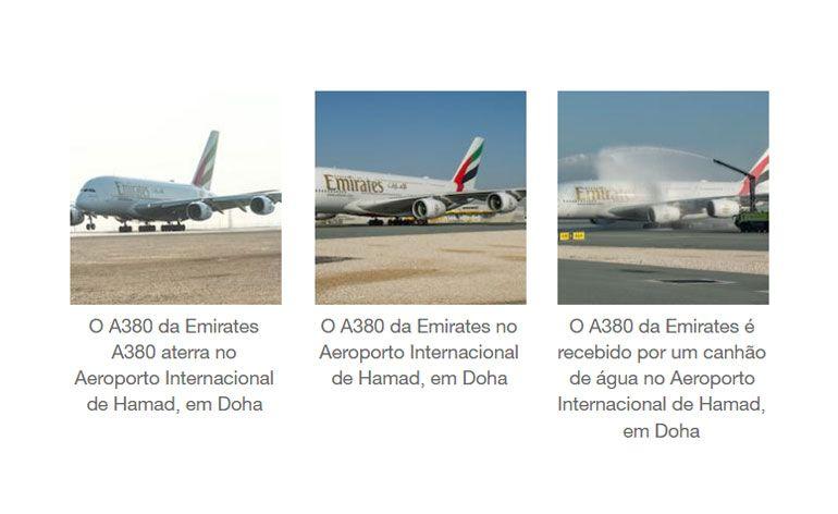 A Emirates aterra em Doha realizando o voo do A380 mais curto do Mundo