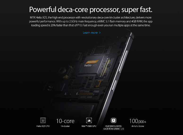 processador deca-core MediaTek Helio X25 com clock de 2,5 GHz