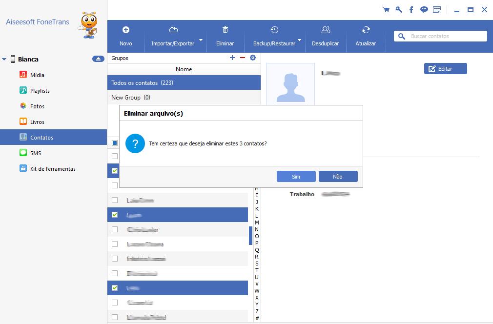Deletar contatos em grupo