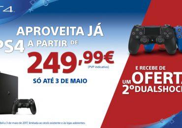 PlayStation 4 disponível a partir de 249,99 € com oferta de um 2º comando